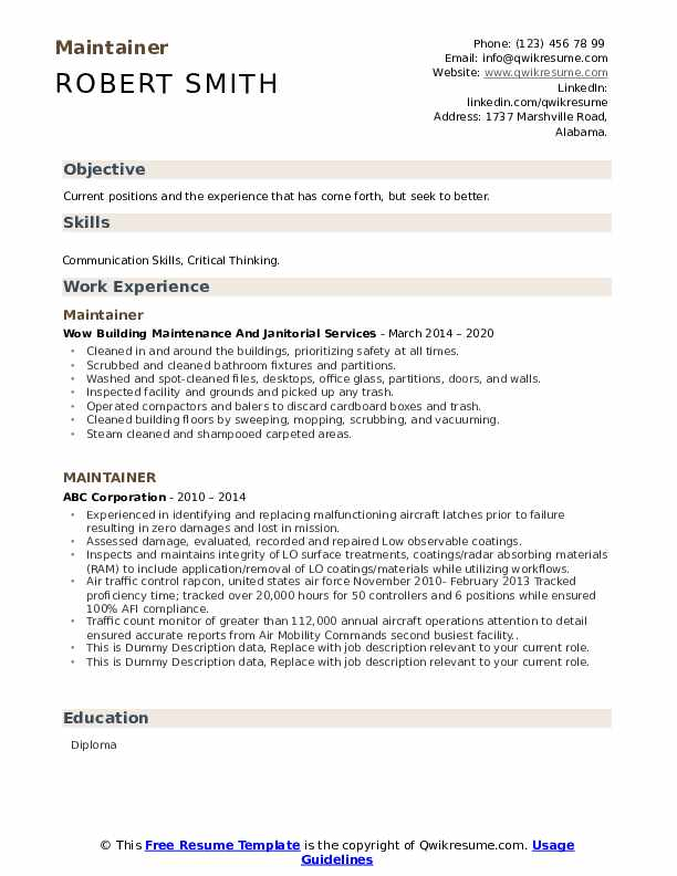 Maintainer Resume example