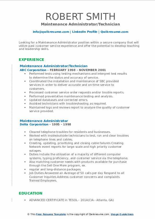 Maintenance Administrator Resume example