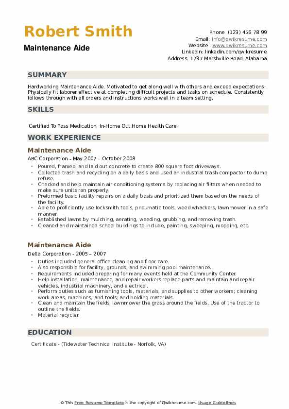 Maintenance Aide Resume example
