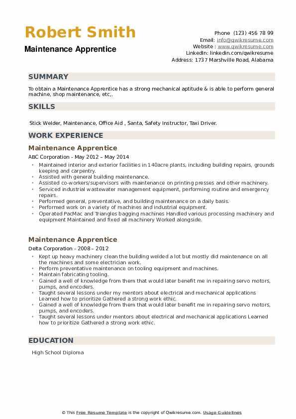 Maintenance Apprentice Resume example