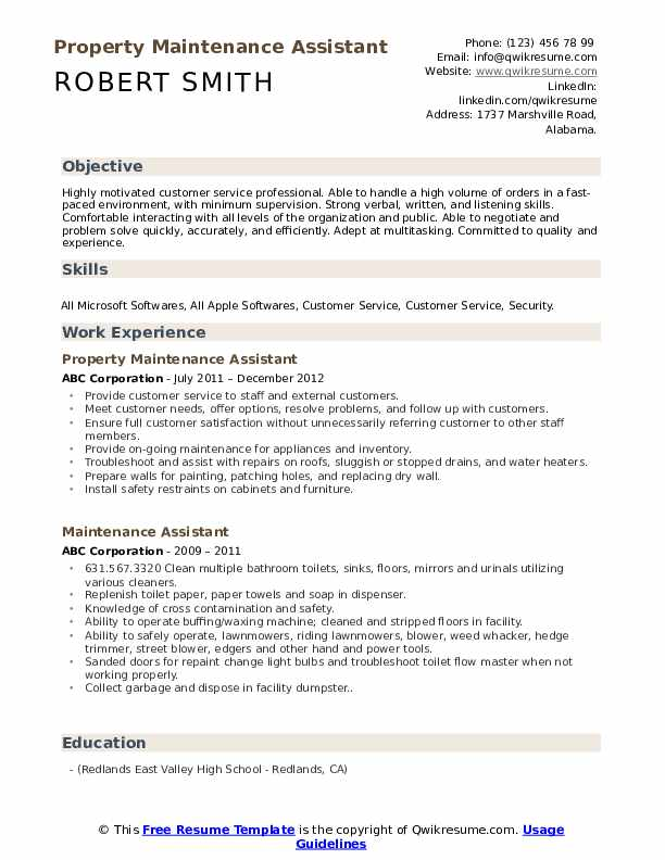 Property Maintenance Assistant Resume Sample