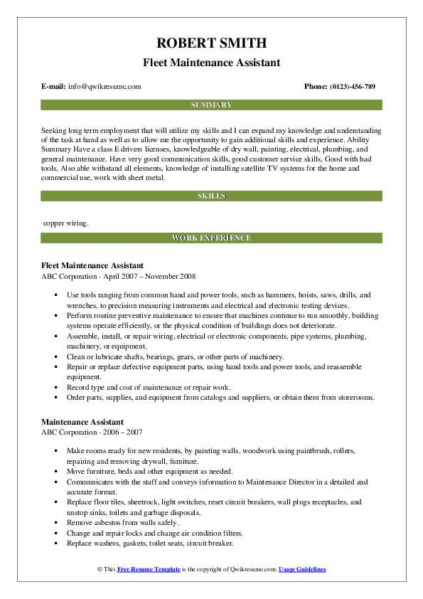 Fleet Maintenance Assistant Resume Model
