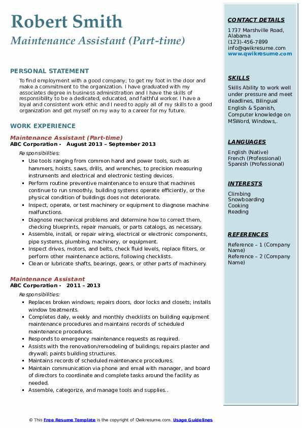 Maintenance Assistant (Part-time) Resume Model