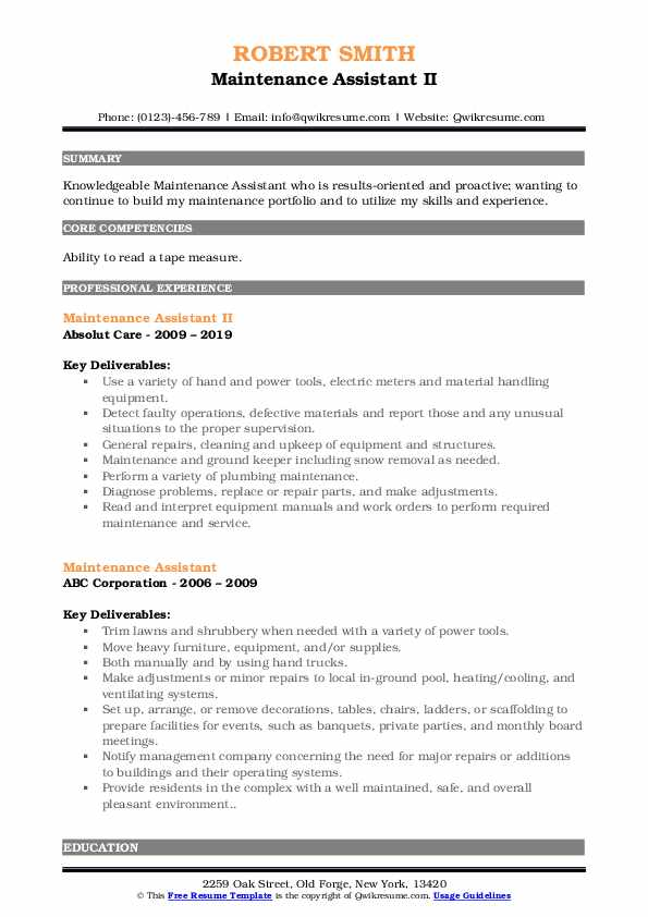 Maintenance Assistant II Resume Template