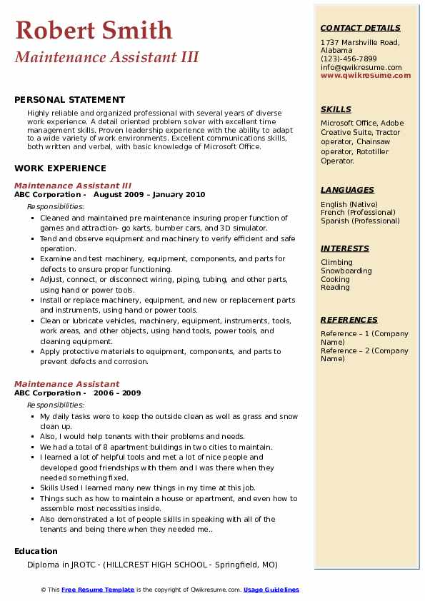 Maintenance Assistant III Resume Example