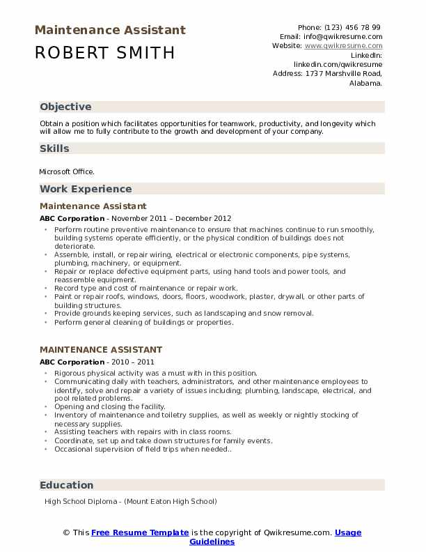 Maintenance Assistant Resume example