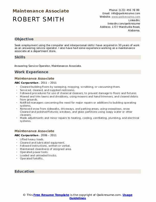 Maintenance Associate Resume Example
