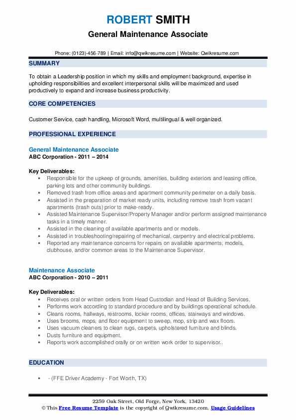 General Maintenance Associate Resume Format