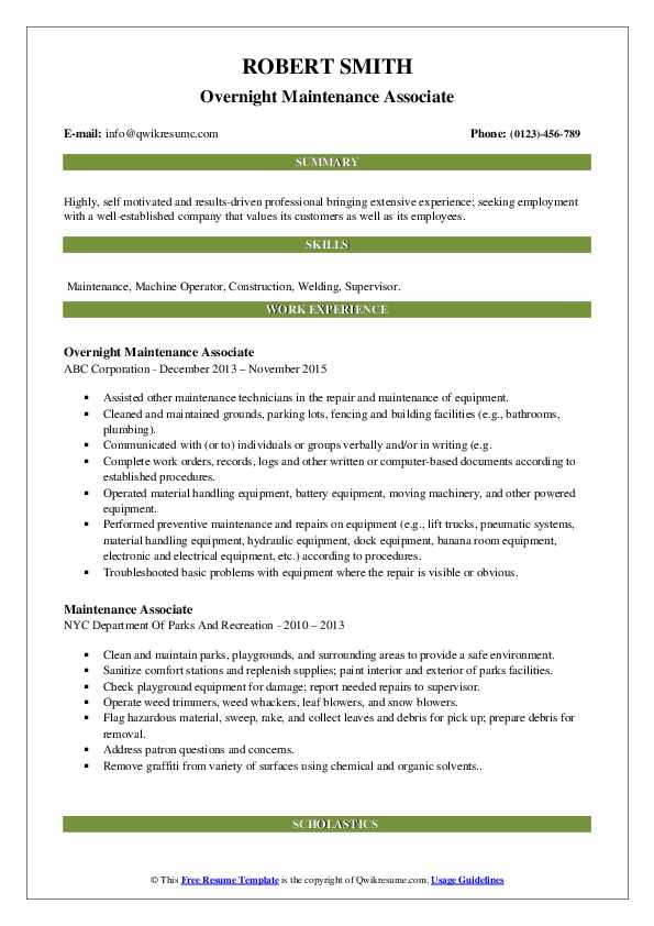 Overnight Maintenance Associate Resume Template