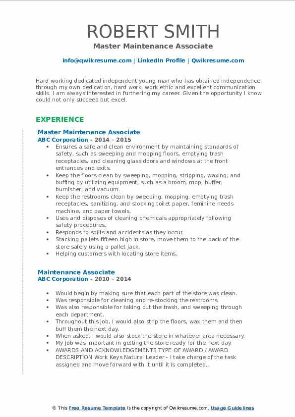 Master Maintenance Associate Resume Format