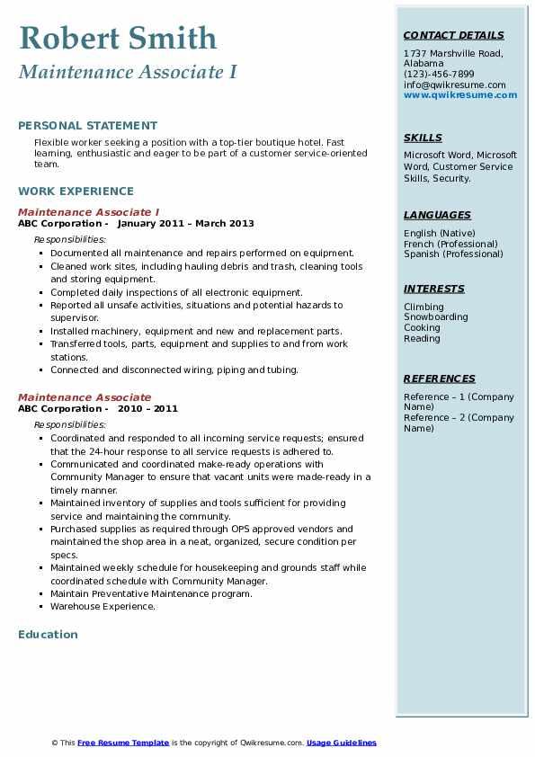 Maintenance Associate I Resume Format