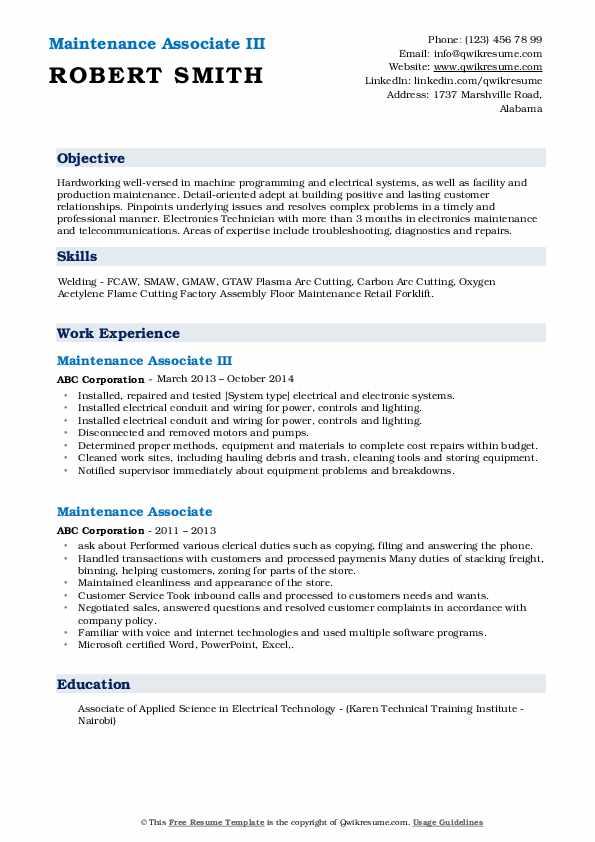 Maintenance Associate III Resume Template
