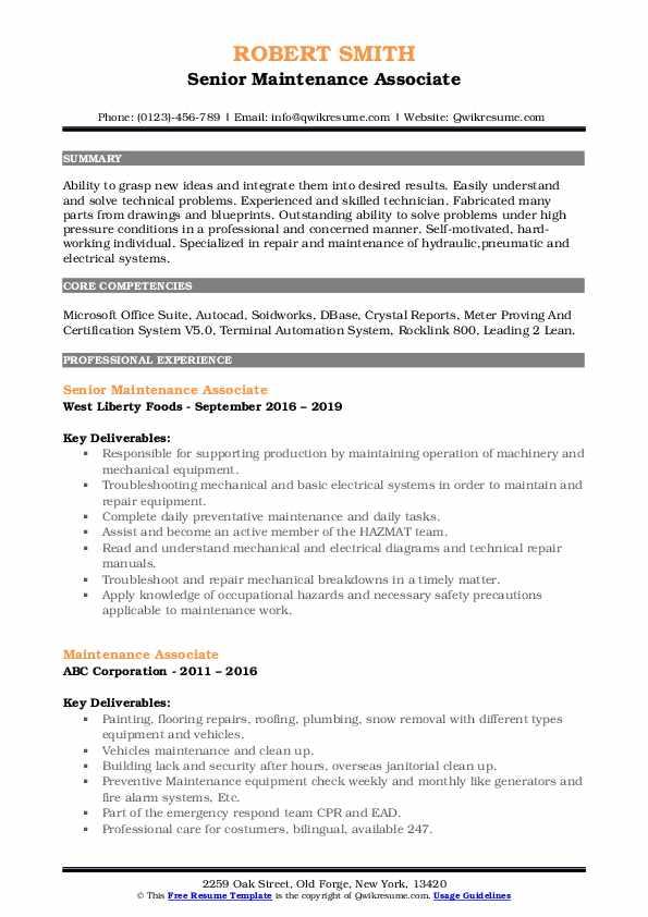 Maintenance Associate Resume Samples | QwikResume