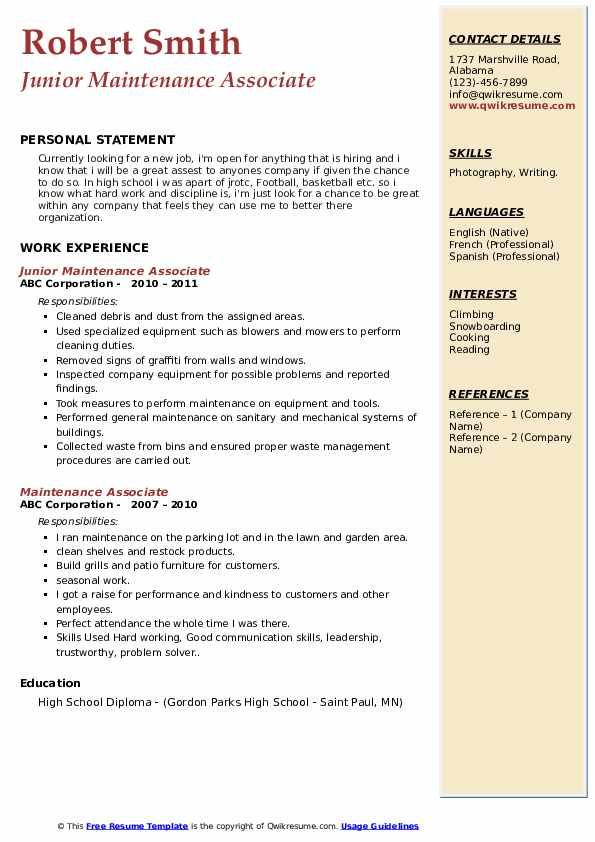 Junior Maintenance Associate Resume Example