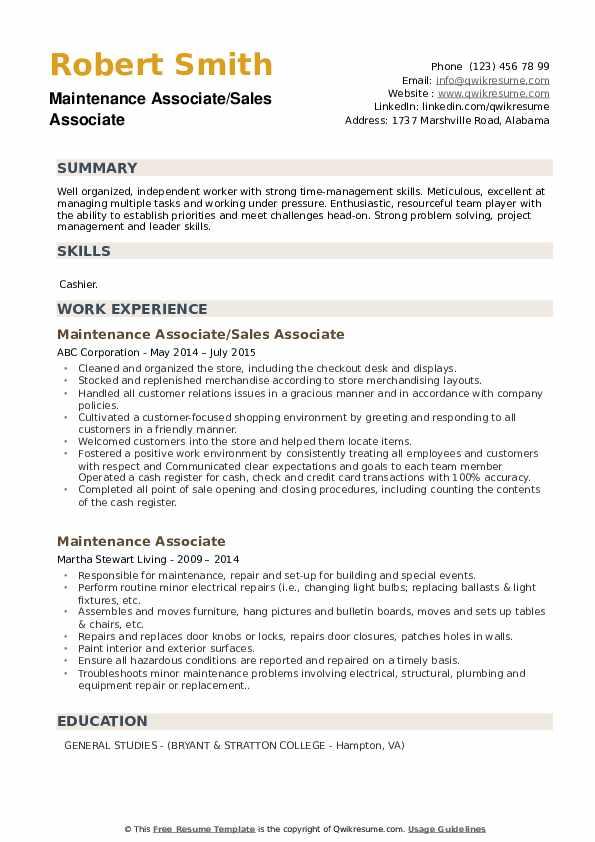 Maintenance Associate/Sales Associate Resume Sample