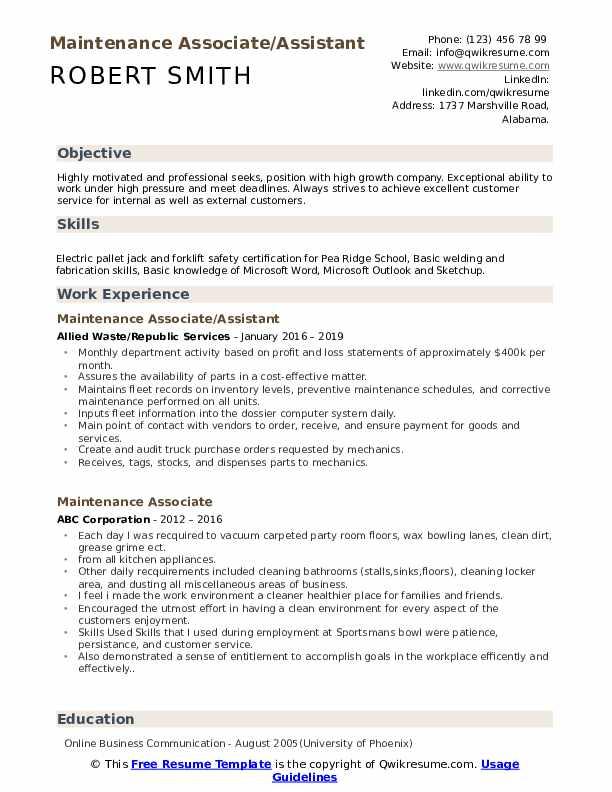 Maintenance Associate/Assistant Resume Template