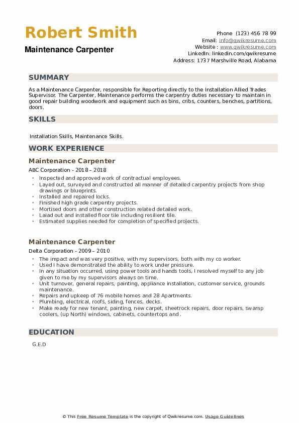 Maintenance Carpenter Resume example