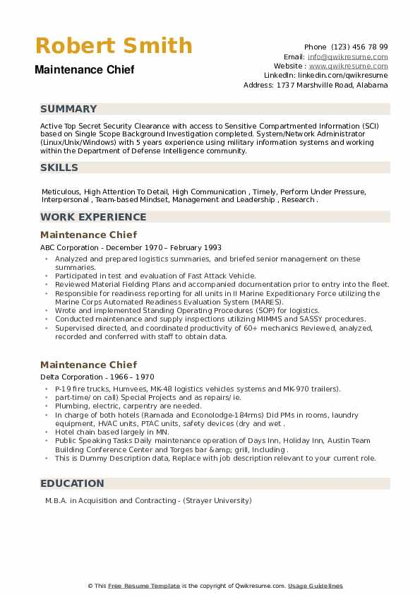 Maintenance Chief Resume example