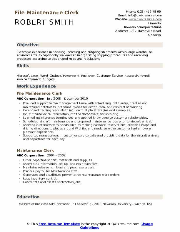 maintenance clerk resume samples