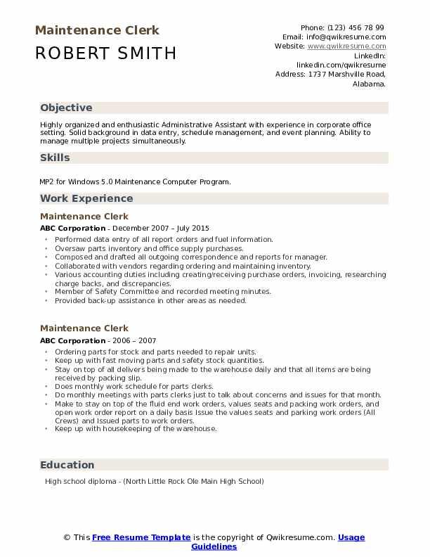 Maintenance Clerk Resume example