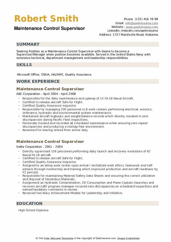 Maintenance Control Supervisor Resume example