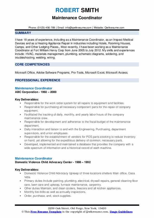 maintenance coordinator resume samples
