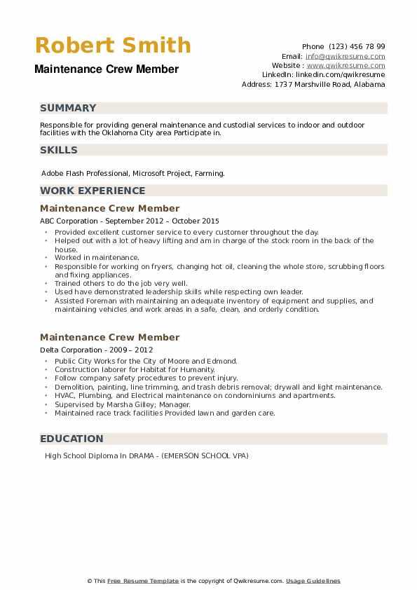 Maintenance Crew Member Resume example