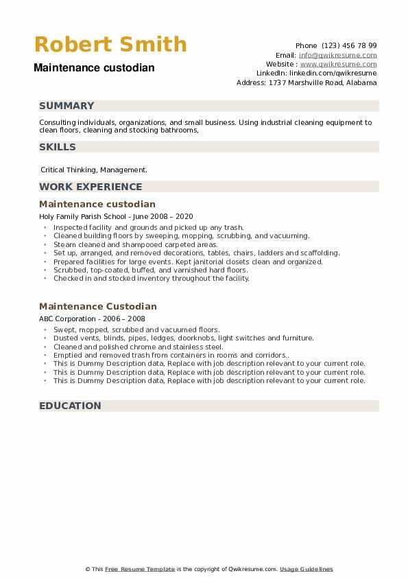 Maintenance Custodian Resume example