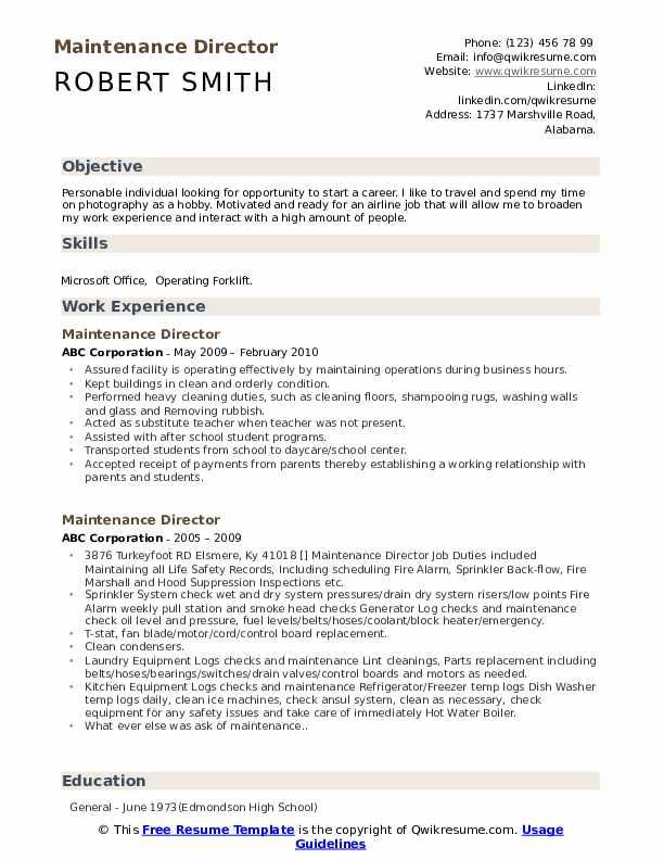 Maintenance Director Resume Template