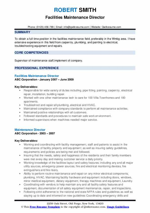 Facilities Maintenance Director Resume Example