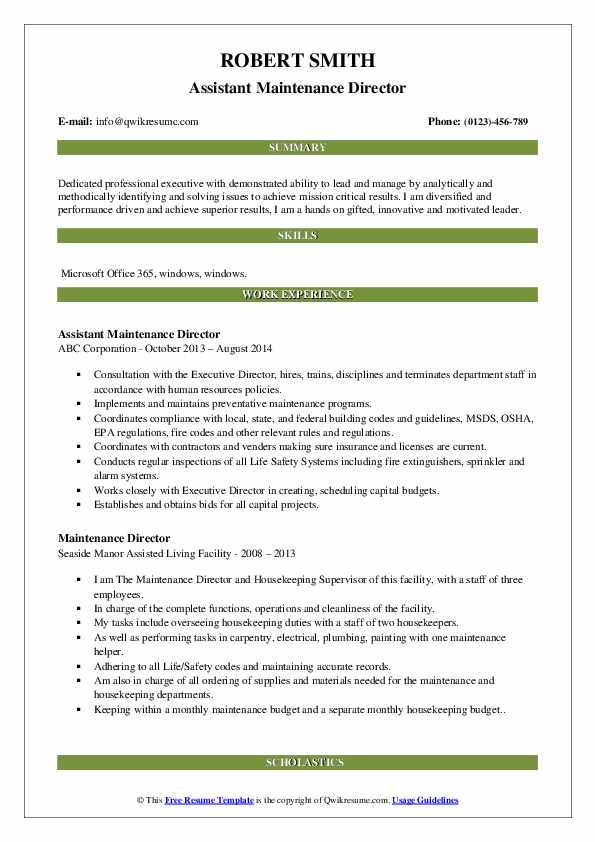 Assistant Maintenance Director Resume Model