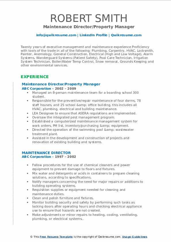 Maintenance Director/Property Manager Resume Format