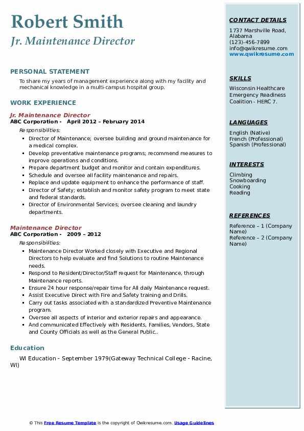 Jr. Maintenance Director Resume Example