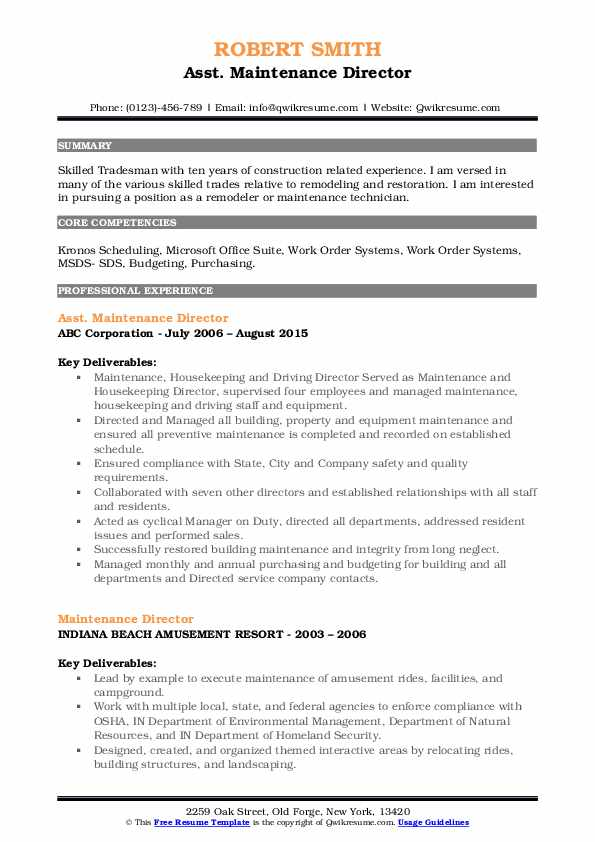 Maintenance Director Resume Samples Qwikresume