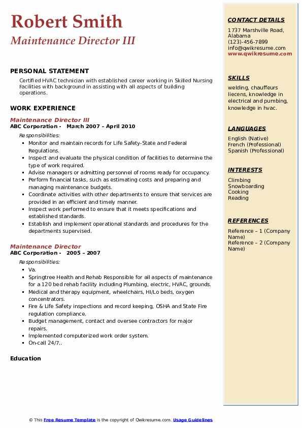 Maintenance Director III Resume Model