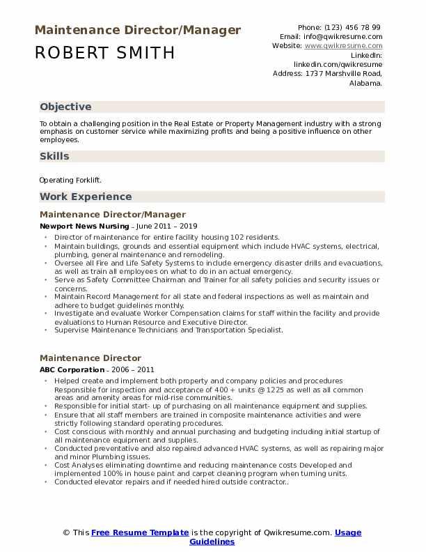 Maintenance Director/Manager Resume Sample