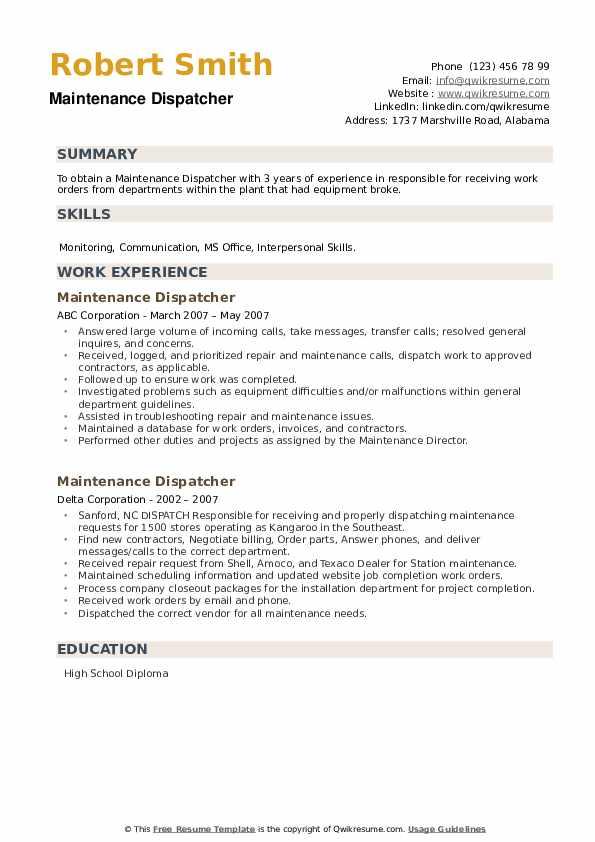 Maintenance Dispatcher Resume example