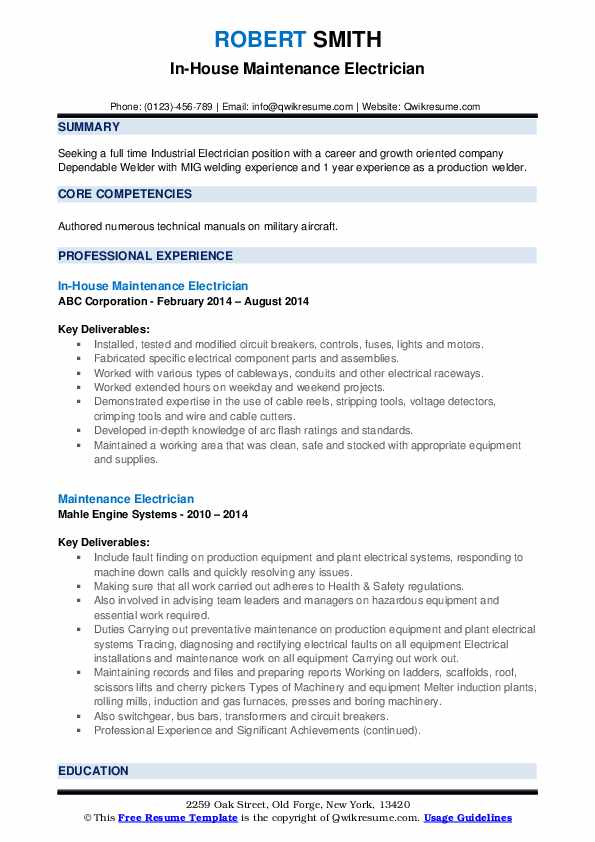Maintenance Electrician Resume Samples | QwikResume