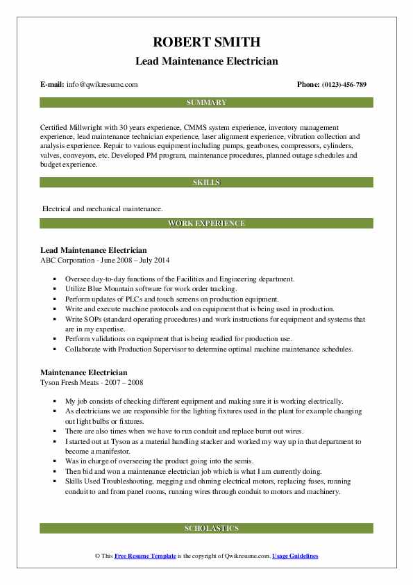 Lead Maintenance Electrician Resume Sample