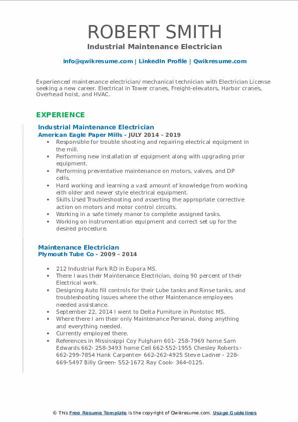 Industrial Maintenance Electrician Resume Sample