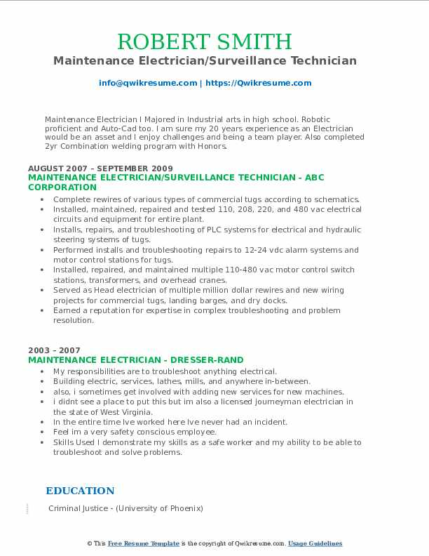 Maintenance Electrician/Surveillance Technician Resume Sample