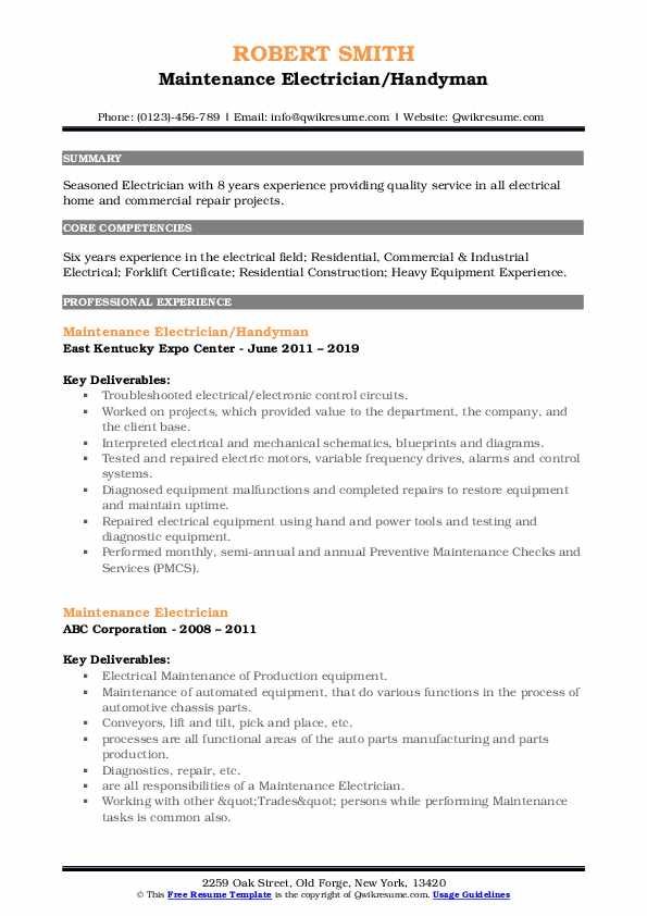 Maintenance Electrician/Handyman Resume Format