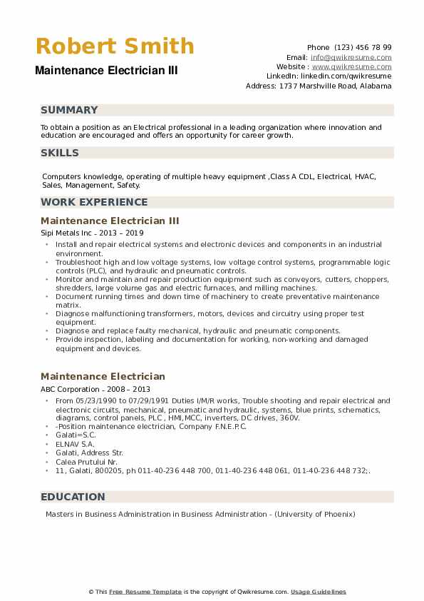 Maintenance Electrician III Resume Sample