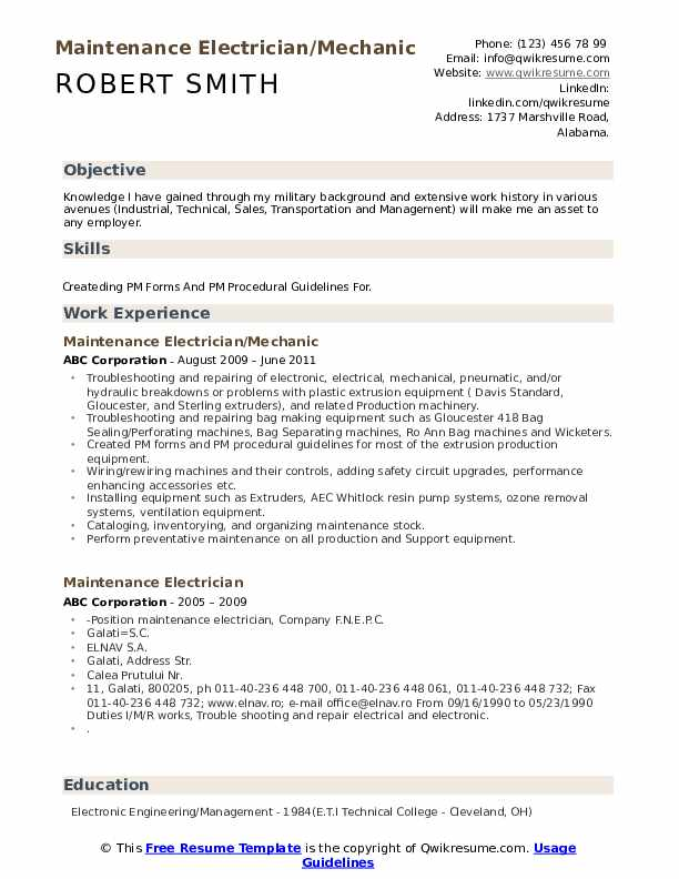 Maintenance Electrician/Mechanic Resume Model
