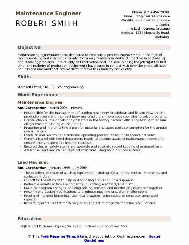 Maintenance Engineer Resume Samples Qwikresume