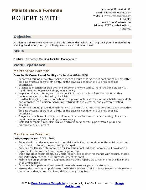 Resume maintenance foreperson 100 plus essay