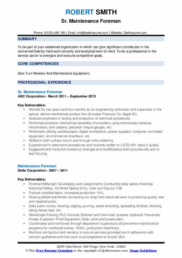 resume maintenance foreperson
