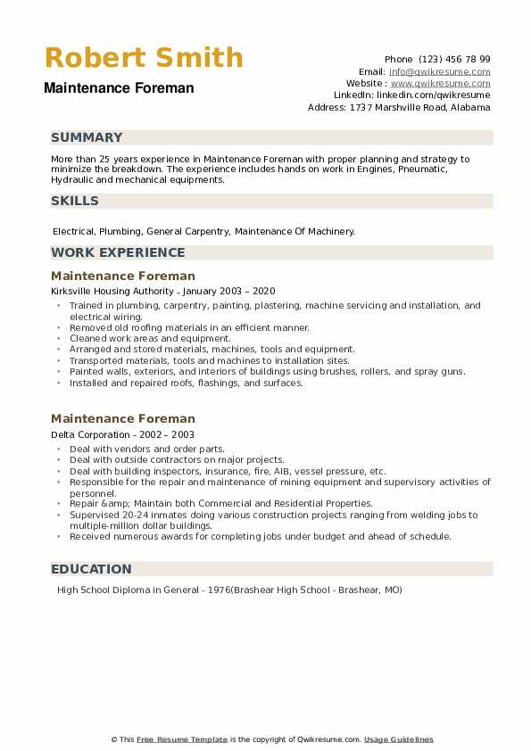 Maintenance Foreman Resume example