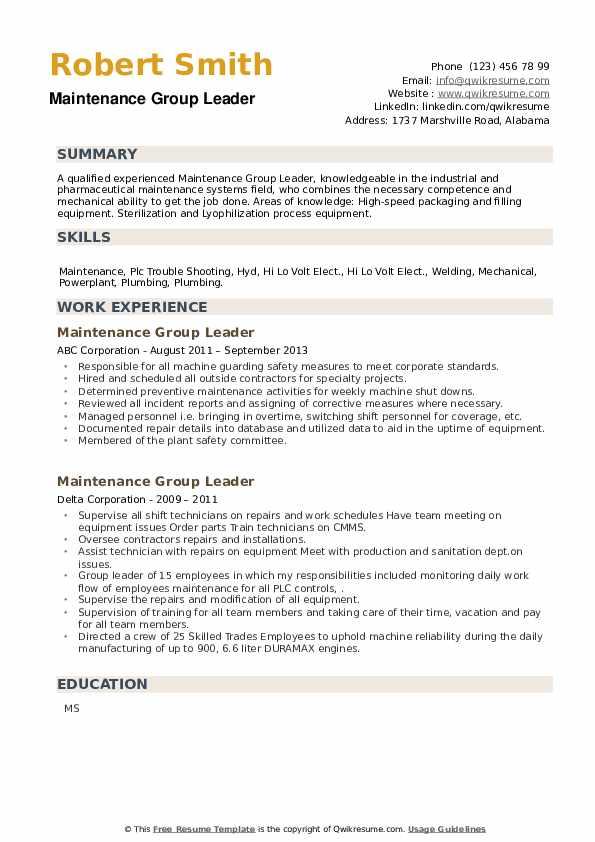 Maintenance Group Leader Resume example