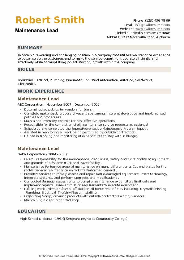 Maintenance Lead Resume example